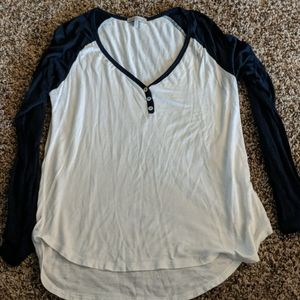 Charlotte Russe blue and white henley